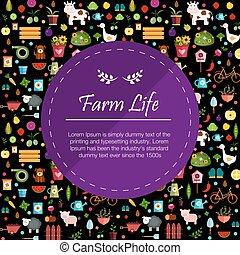 sombre, légumes, bannière, illustration, fruits