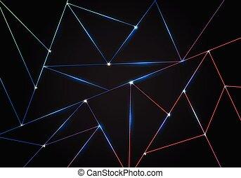 sombre, laser, polygone, gradient, modèle, résumé, lignes, polygonal, arrière-plan., noir, bas, éclairage, formes géométriques, technologie, triangles