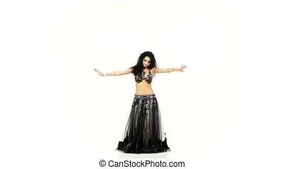 sombre, lent, elle, hanches, danse, cheveux, danseur, ventre...