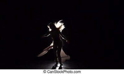 sombre, lent, pratiquer, contemporain, mouvement, gracieux, girl, studio.