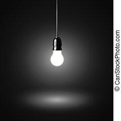 sombre, lumière, incandescent, ampoule