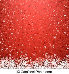 sombre, lumière, neige, fond, rouges