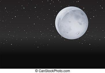 sombre, lune, nuit