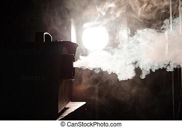 sombre, machine, action, fumée
