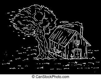 sombre, maison