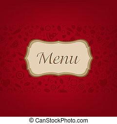 sombre, menu, arrière-plan rouge
