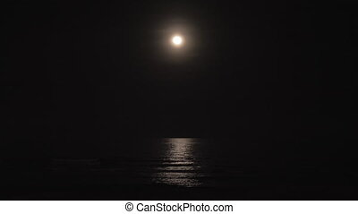 sombre, mer, lune, nuit