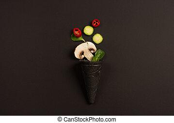 sombre, moderne, légume, fond, composition, concept