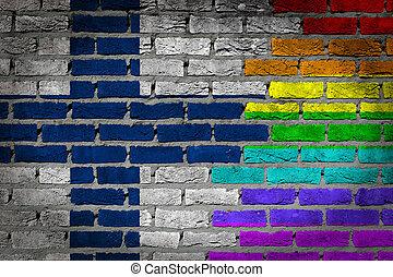 sombre, mur brique, -, lgbt, droits, -, finlande