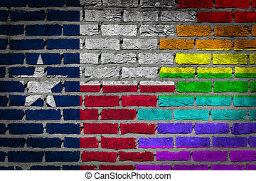 sombre, mur brique, -, lgbt, droits, -, texas