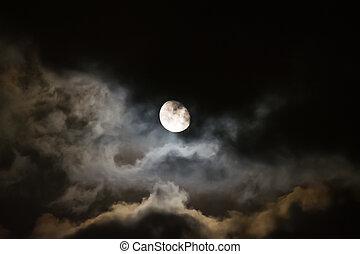sombre, nuit, entouré, nuages, lune