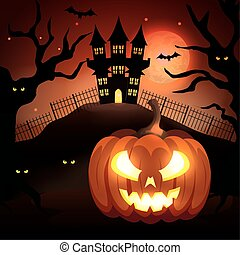 sombre, nuit halloween, château, citrouille, hanté