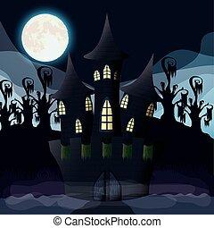 sombre, nuit halloween, château, scène