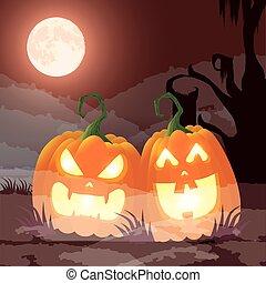 sombre, nuit halloween, scène, potirons