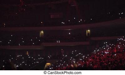 sombre, onduler, ventilateurs, lanternes, concert
