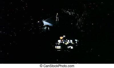 sombre, panneau, dj, salle concert