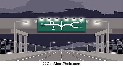 sombre, passage inférieur, ciel nuit, isolé, illustration, autoroute, vert, autoroute, fond, signage, ou, route