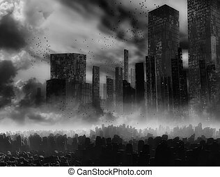 sombre, paysage, apocalypse