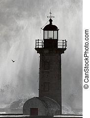 sombre, phare, orage