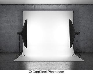 sombre, photo, éclairage, studio, équipement
