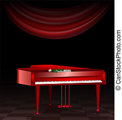 sombre, piano, salle, rouges