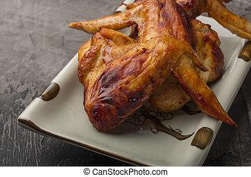 sombre, plaque, ailes poulet, fond