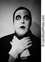 sombre, portrait, mime