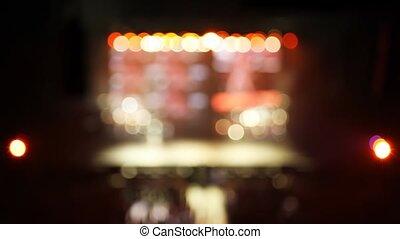 sombre, scène, salle concert, lumière