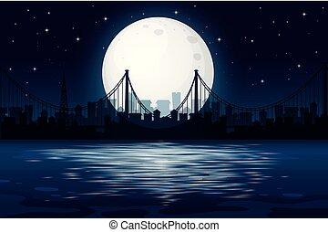 sombre, scène urbaine, nuit