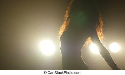 sombre, silhouettes, passionné, mouvements, danse