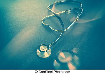 sombre, stéthoscope, fond