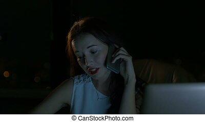 sombre, téléphoner femme, business, conversation