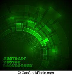 sombre, technique, résumé, arrière-plan vert