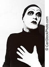 sombre, théâtral, Maquillage,  mime, acteur
