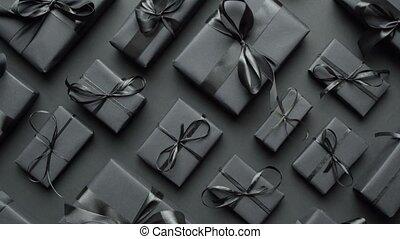 sombre, theme., arrangé, noël, ruban, papier, emballé, dons...