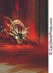 sombre, trône, fantasme, illustration