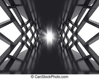 sombre, tunnel, futuriste