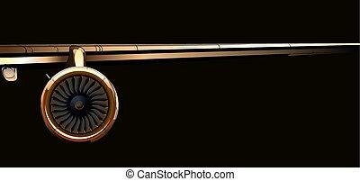 sombre, turbine, avion ligne, aile, fond