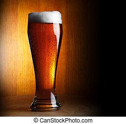 sombre, verre, bière, copy-space, fond