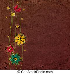 sombre, vieux, papier, textured, fleurir, fleurs, fond