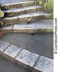 sombre, vieux, pierre, extérieur, étapes