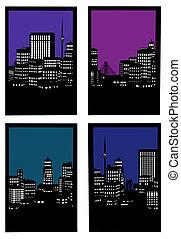 sombre, ville, fenêtre