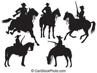 sombrer, cavaleiro, boiadeiro, xerife