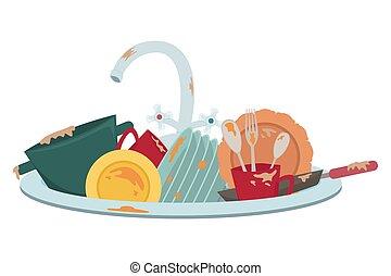 sombrer, illustration., dishes., isolé, sale, housework., cuisine