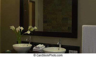 sombrer, mur, double, toilettes, miroir, auberge