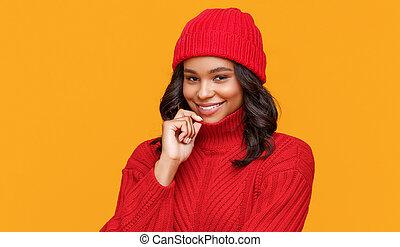 sombrero, étnico, suéter, mujer