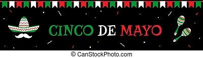 Sombrero and maracas cinco de mayo banner