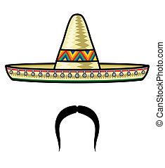 Sombrero and moustache