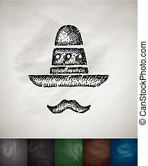 sombrero and mustache icon. Hand drawn vector illustration....