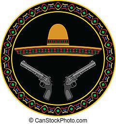 sombrero and two pistols